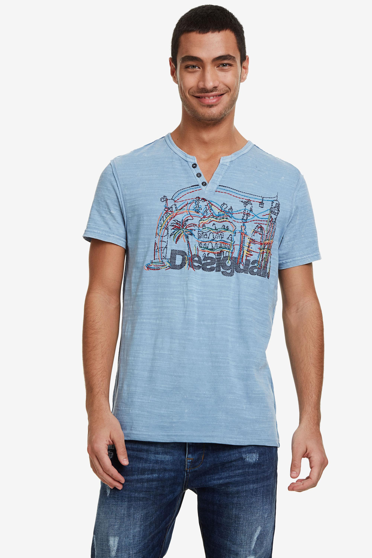 Image of 100% cotton Barcelona T-shirt - BLUE - L