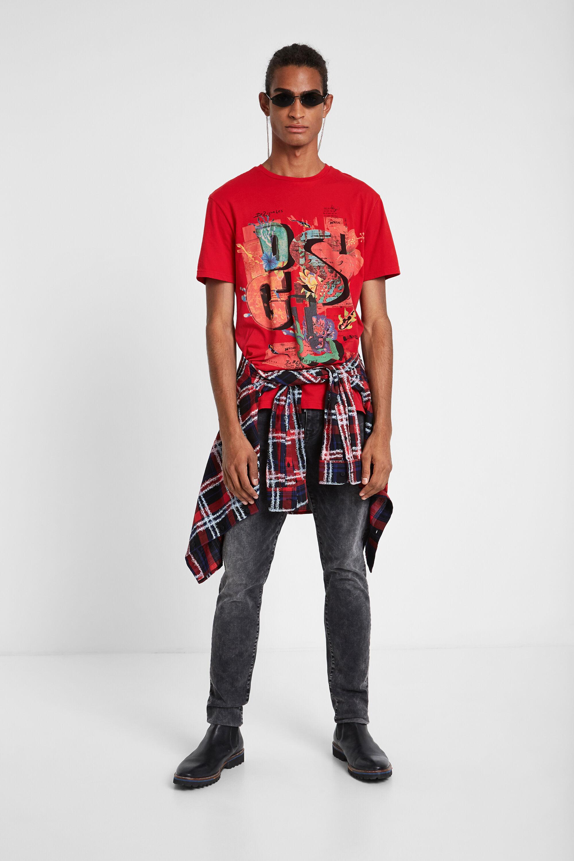 Image of 100% cotton Logomania T-shirt - RED - L