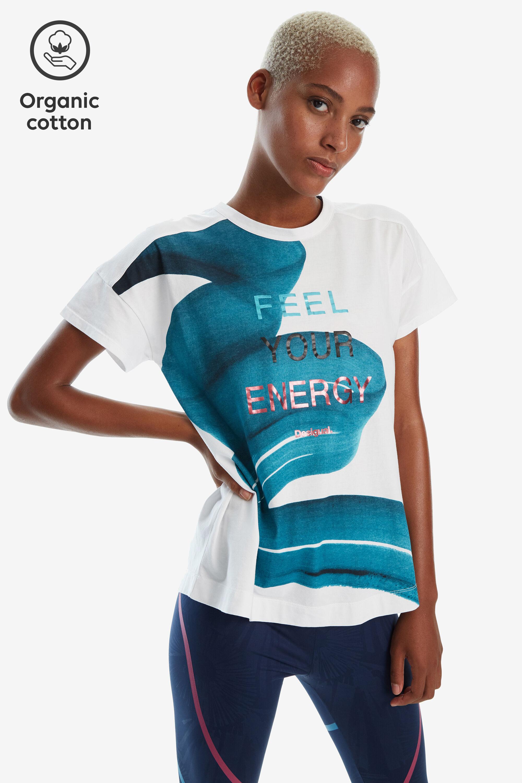 Oversized T-shirt met penseelstreken – WHITE – M
