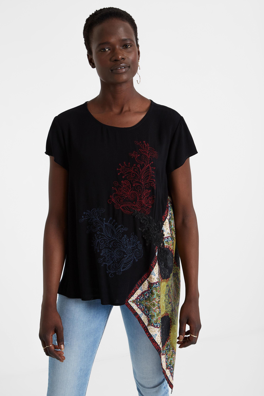 Blouse asymétrique empiècement foulard - BLACK - L