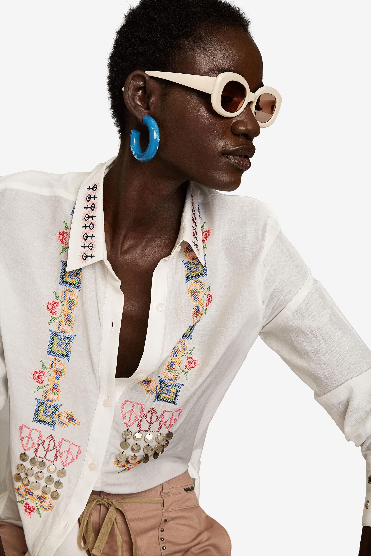 Geborduurd zijden shirt – WHITE – S