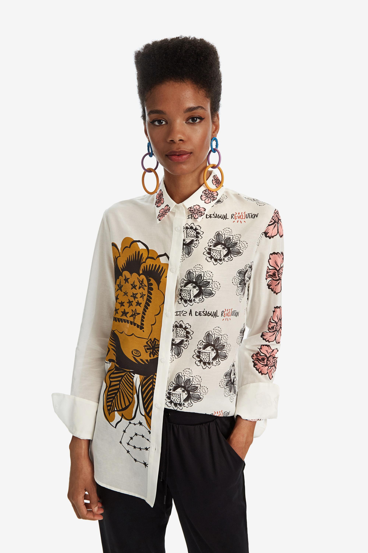 Zijden shirt maxiflowers – WHITE – M