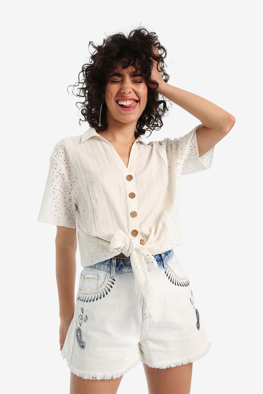 Chemise boho à nœud - WHITE - XXL