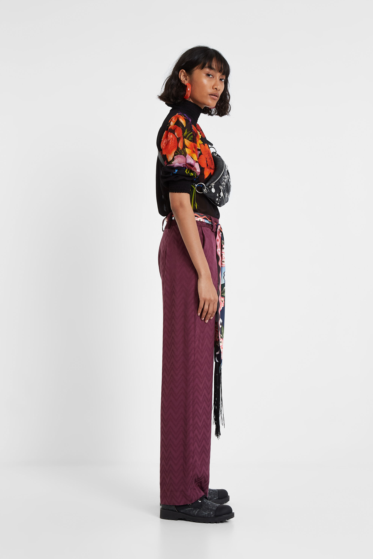 Pantalon jacquard ceinture foulard - GREEN - 46