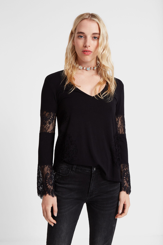 Basic T-shirt met kant – BLACK – XL