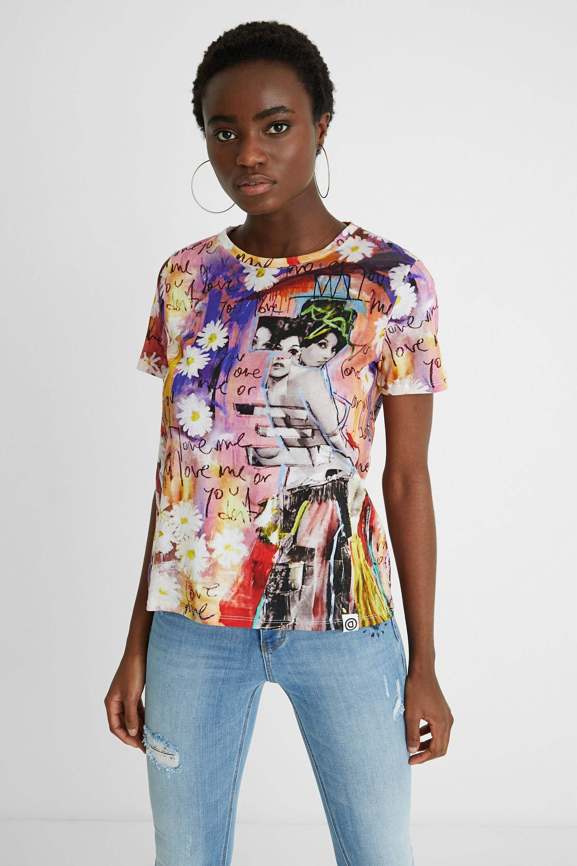 Cotton T-shirt collage - RED - XL