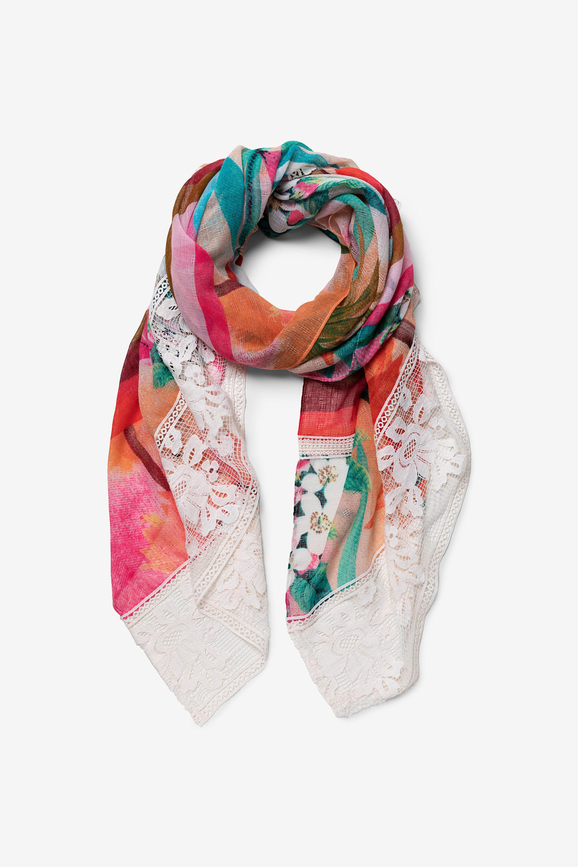 Tropische sjaal met kant – RED – U