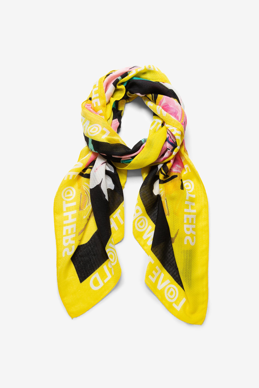 Gebloemde foulard met hibiscus – BLACK – U