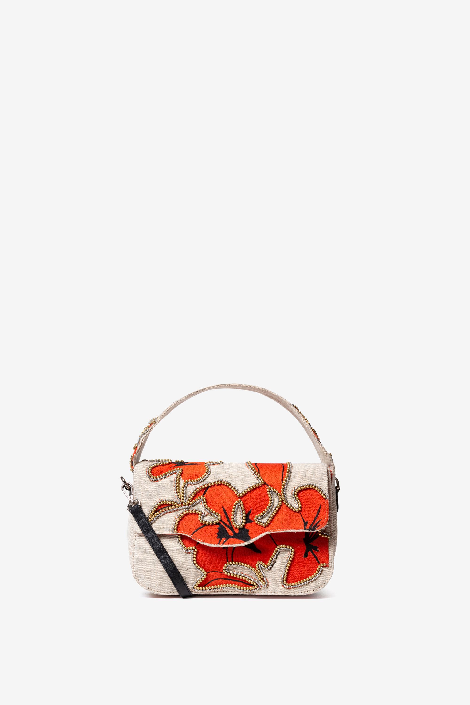 Sac rectangulaire à rabat et hibiscus - RED - U