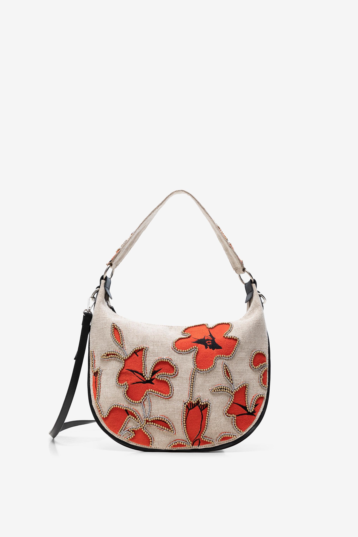 Sac arrondi à hibiscus et perles - RED - U