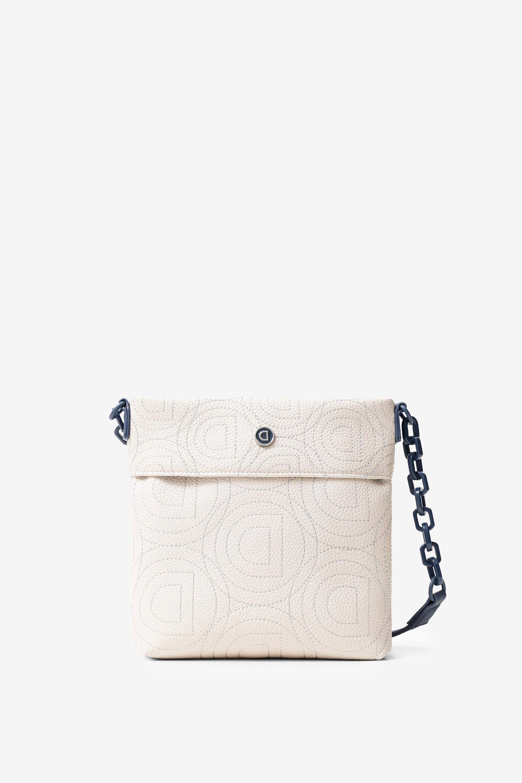 Vierkante mini-schoudertas met logomania – WHITE – U
