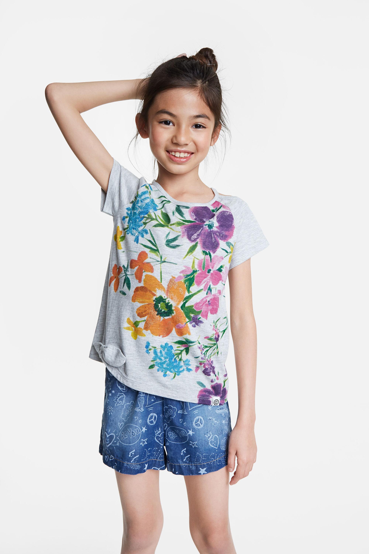 T-shirt met bloemenprint en openingen – BLACK – 5/6