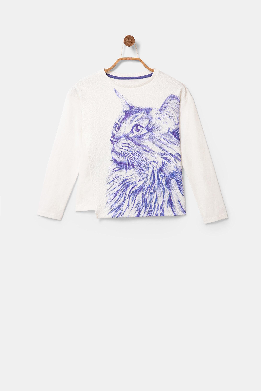 Asymmetrisch T-shirt met bolimania – WHITE – 7/8