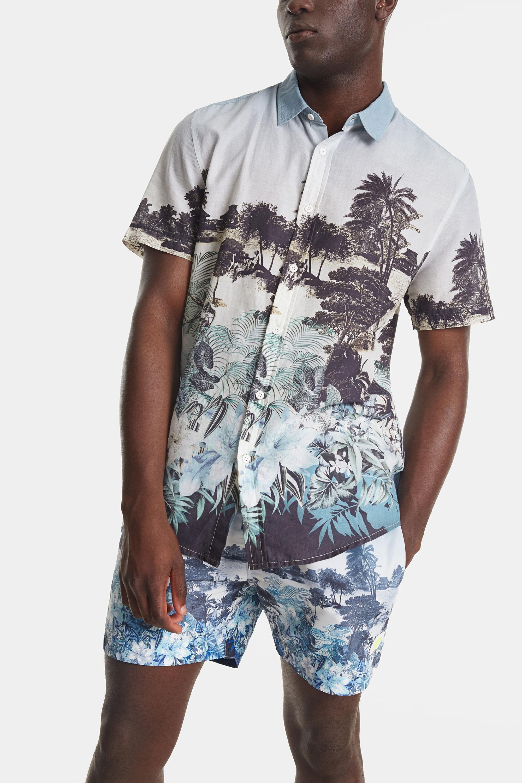 Shirt met Balinees landschap – WHITE – XL