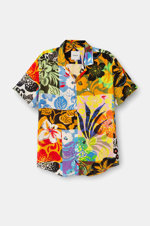 Shirt met Hawaïaanse prints – BLUE – S