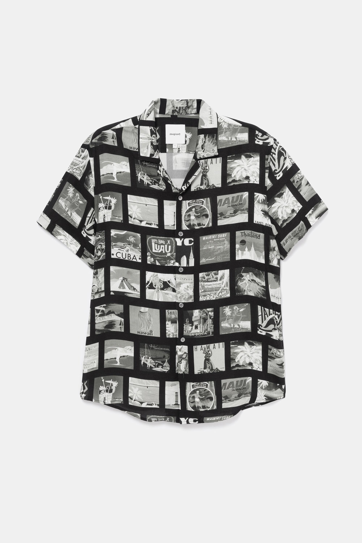 Shirt met fotografische ansichtkaart – BLACK – XXL