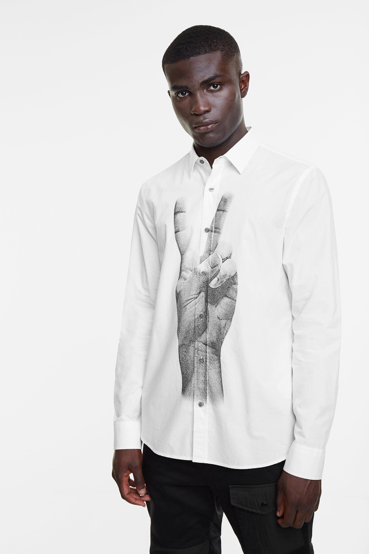 Shirt met fotoprint van een hand – WHITE – XL