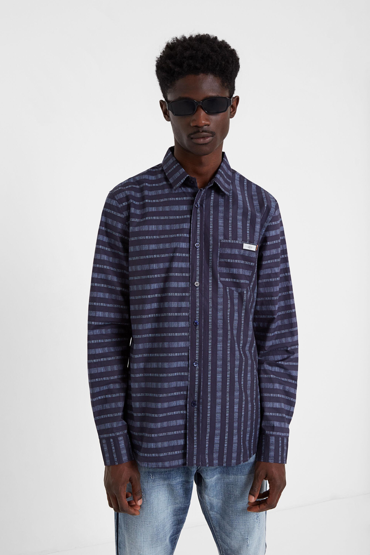 Shirt met multidirectionele lijnen – BLACK – XL