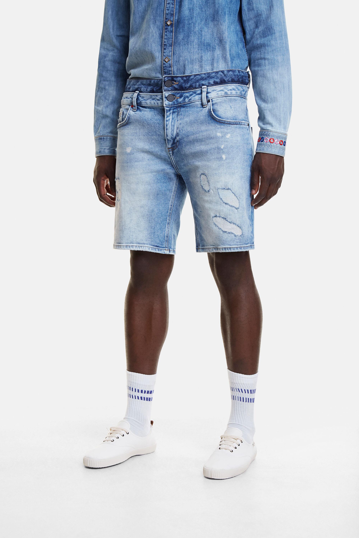 Korte spijkerbroek met dubbele tailleband – BLUE – 34
