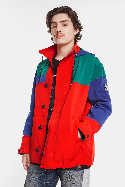 Parka waterproof tricolor hood - RED - M