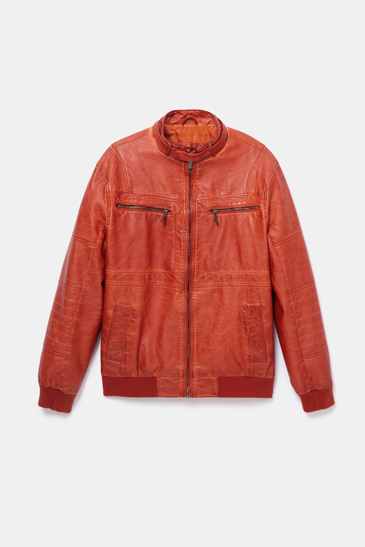 Padded biker jacket - ORANGE - L
