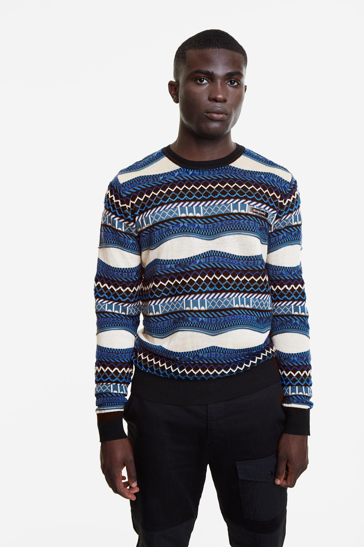 Geometric stripes jumper - BLUE - XXL
