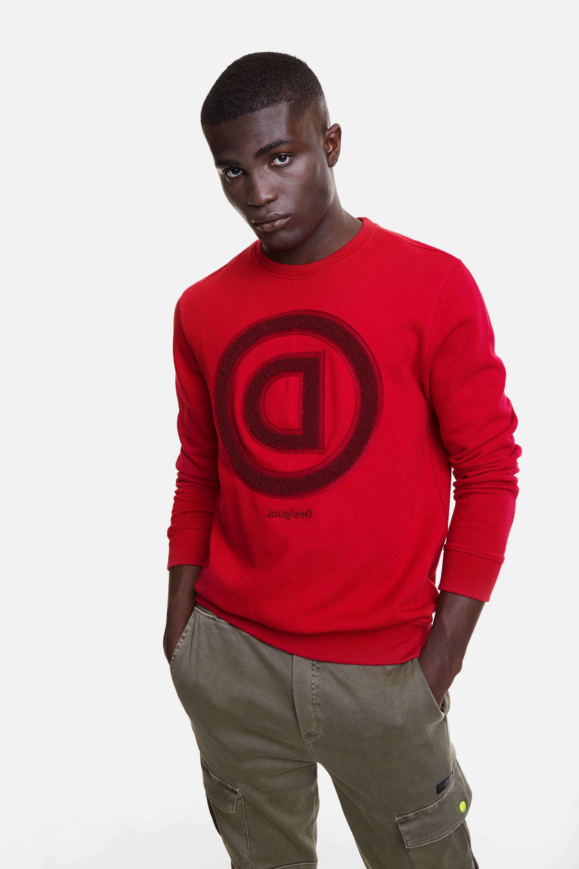 Sweatshirt met logomania-print van omgekeerde D – RED – XL