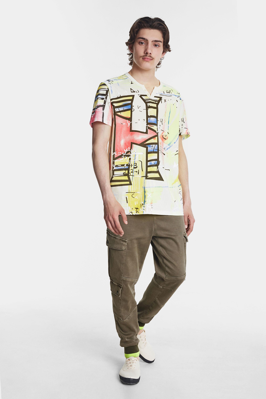 Arty T-shirt met aquareleffect – WHITE – XXL