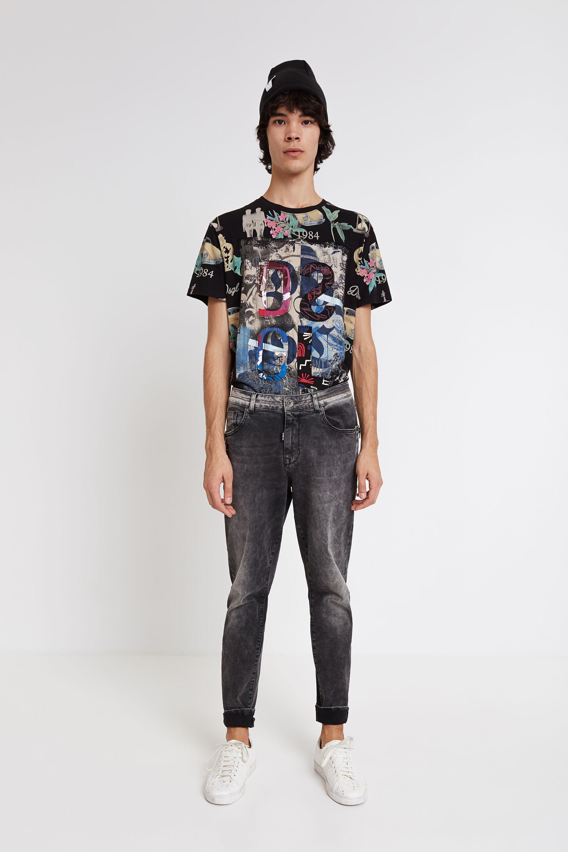 Camiseta de patch con multiestampado - BLACK - M