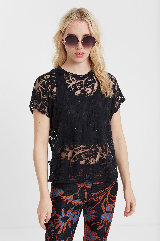 Biologisch gebloemd T-shirt met ausbrenner-effect en halfdoorschijnende details – BLACK – S