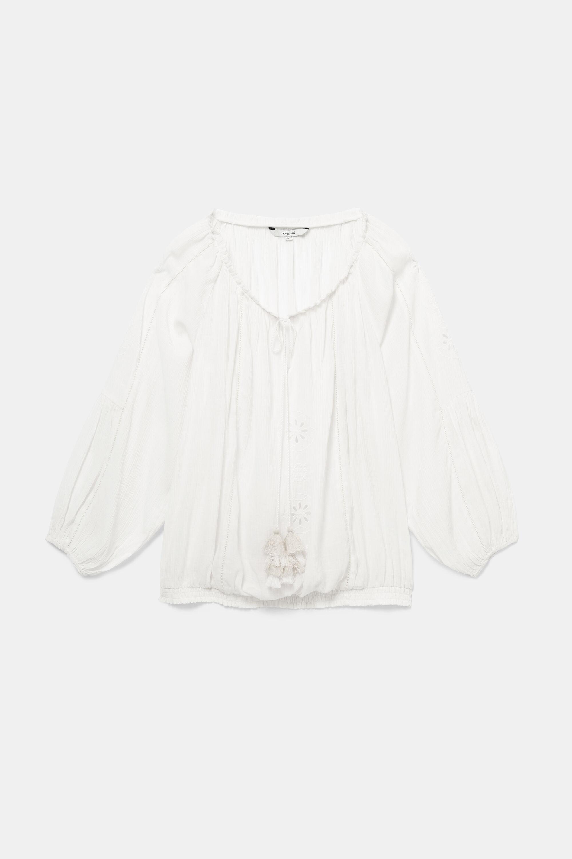 Blouse met geborduurde mandala's – WHITE – XL