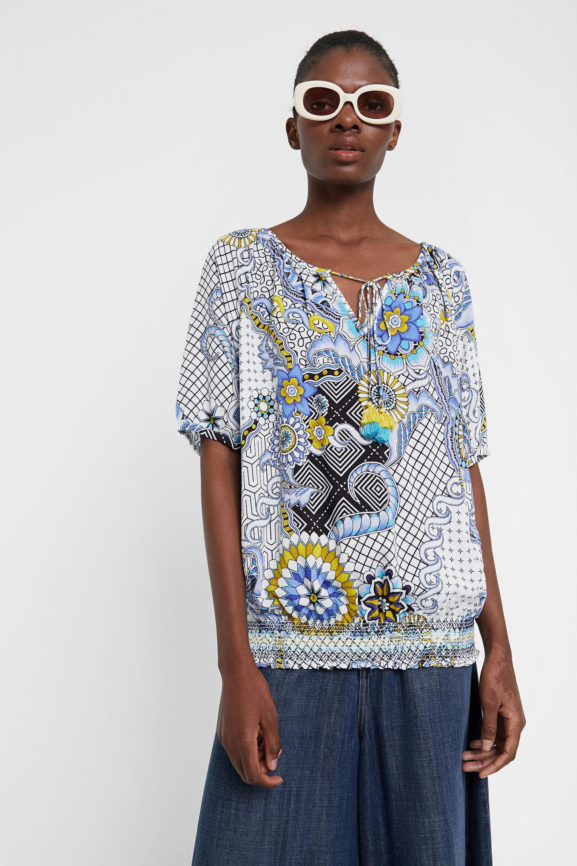 Geometrische gebloemde blouse – BLUE – M