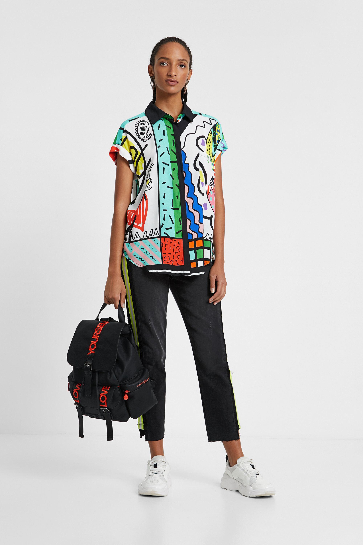 Arty shirt met hindoe-tekeningen – MATERIAL FINISHES – XL