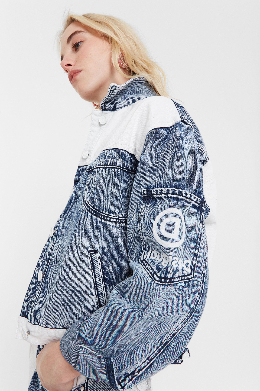Tweekleurig spijkerjack met patch – BLUE – M