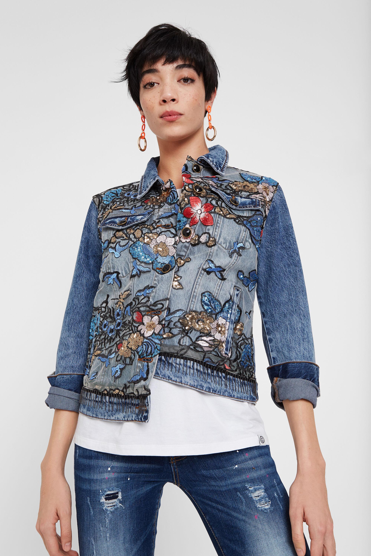 Jean jacket floral print - BLUE - 36