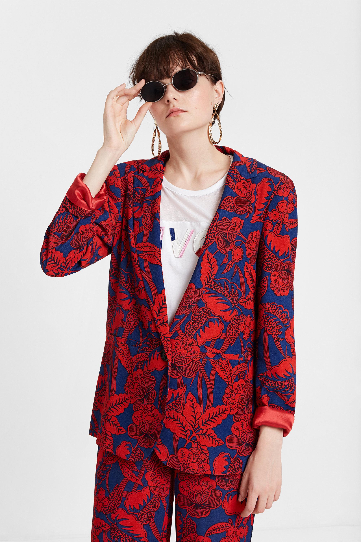 Burgundy floral blazer - RED - L