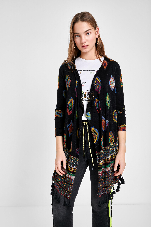 Geometric print knit cardigan - BLACK - XL
