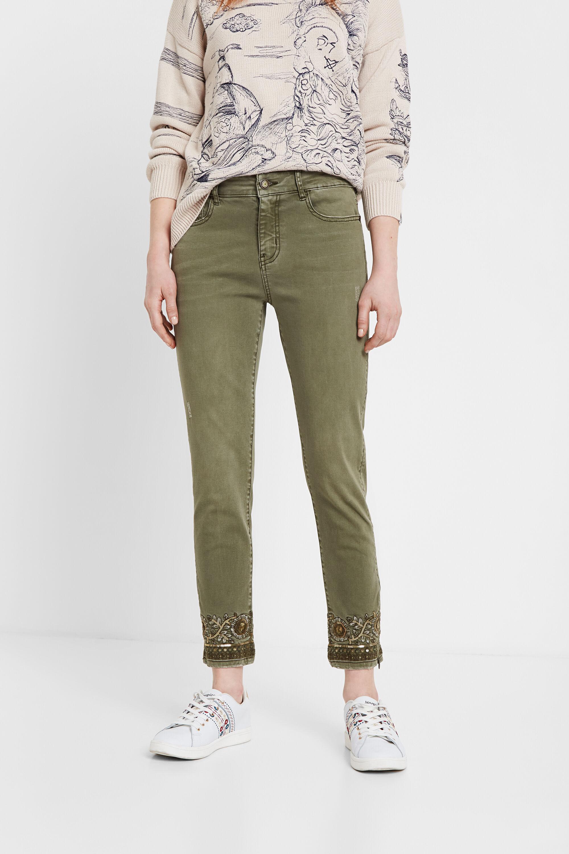Skinny jeans met bloemenborduursel – GREEN – 34