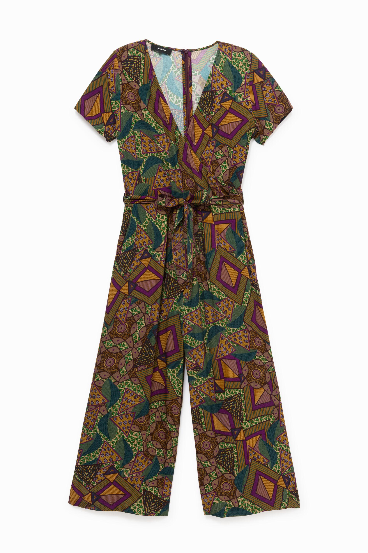 African geometric print jumpsuit - GREEN - L