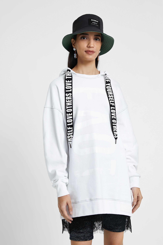 Lang sweatshirt met capuchon en kant – WHITE – XL