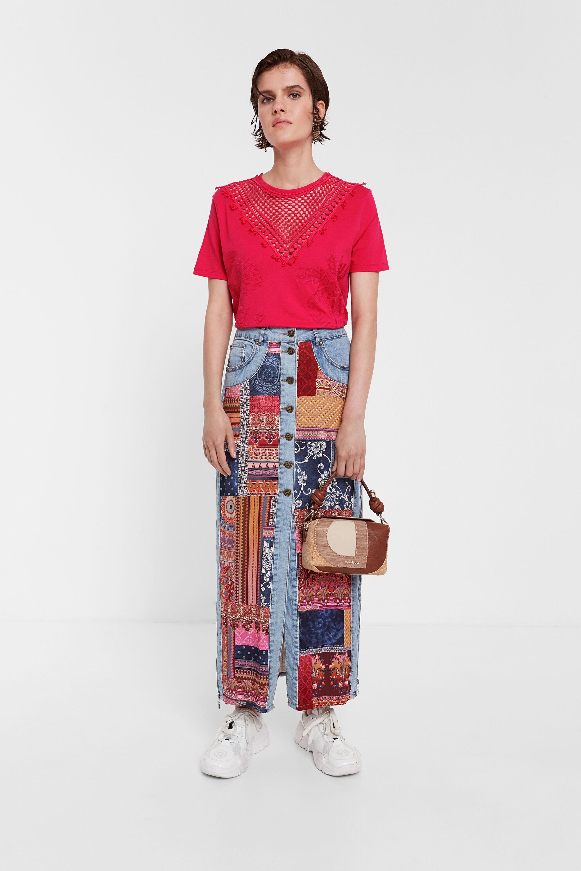 T-shirt fleuri à résille en maille - RED - XL