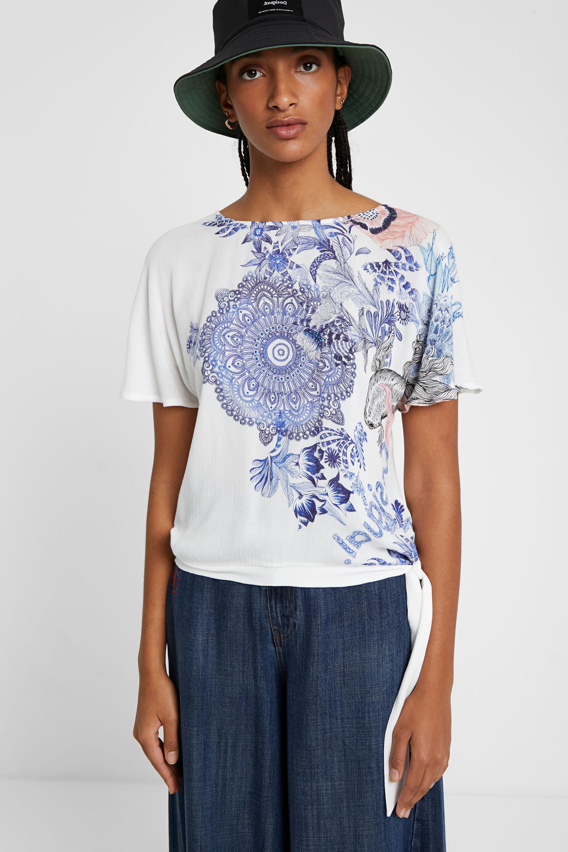T-shirt met bloemenprint – WHITE – XXL