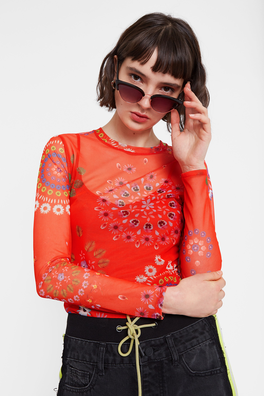 Halfdoorschijnend T-shirt met mandala – RED – L