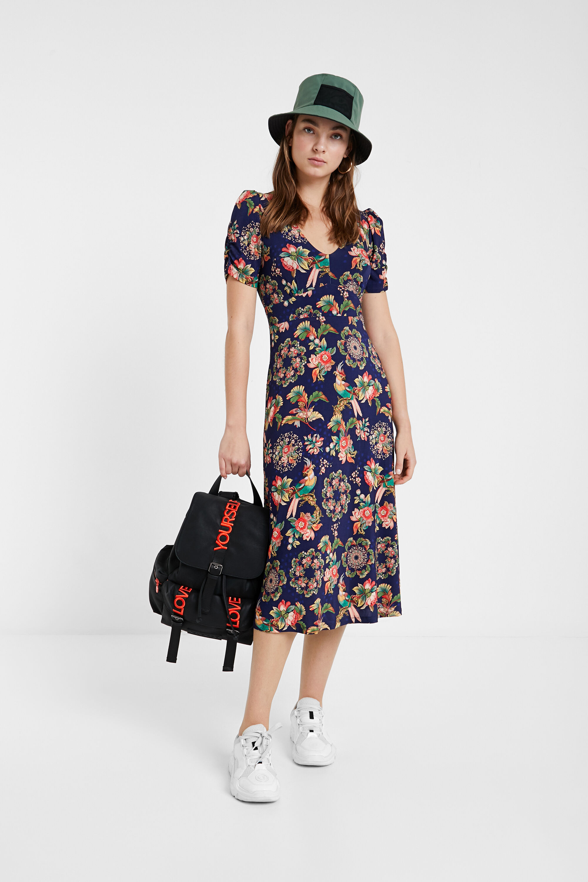 Floral flared dress with lapels - BLUE - M
