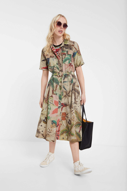 Safari-jurk van Tencel™ met gebloemde camouflage – BROWN – 42