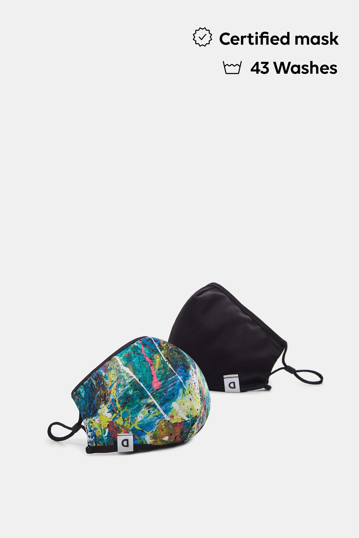 Watercolour-effect reversible mask + pouch - YELLOW - U