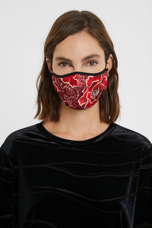 Floral face mask + pouch - BLACK - U