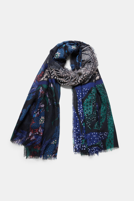 Foulard rectangulaire fleuri et lettering - BLUE - U