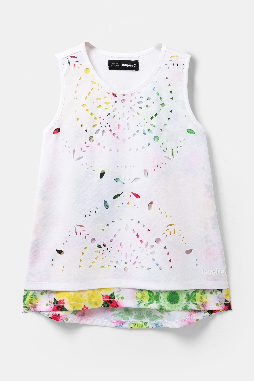 T-shirt double épaisseur perforation - WHITE - 7/8 - Desigual - Modalova