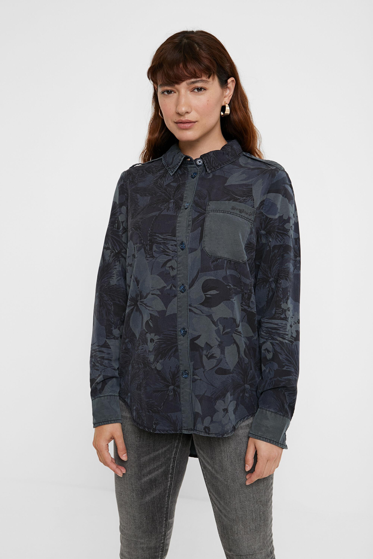 Chemise longue fleurs camouflage - BLUE - XL